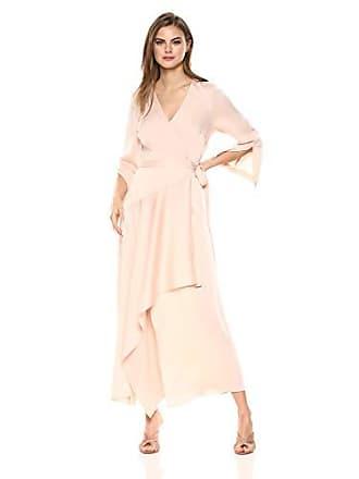Bcbgmaxazria BCBGMax Azria Womens Asymmetrical Satin Wrap Dress, Almond Pink, M