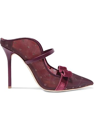 Malone Souliers Marguerite 100 Velvet And Leather-trimmed Mesh Mules - Burgundy