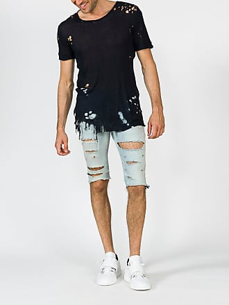 Balmain Blue Destroyed Crew Neck T-shirt - The Webster