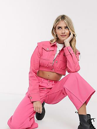 Reclaimed Vintage inspired crop denim jacket in pink