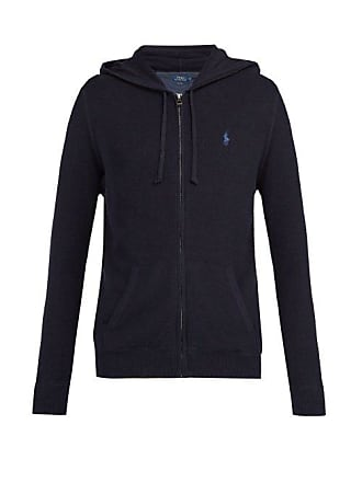 Polo Ralph Lauren Logo Embroidered Hooded Cotton Piqué Sweatshirt - Mens - Navy