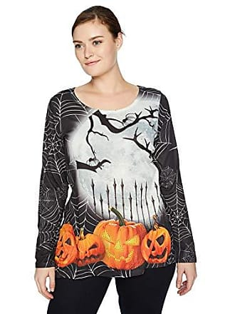 Oneworld Womens Plus-Size Long Sleeve Holiday Hi Lo Hem Top, Moonlight Pumpkins/Purity, 1X