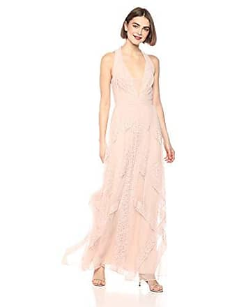 Bcbgmaxazria BCBGMax Azria Womens Raissa Striped Lace Halter Gown, Bare Pink 8