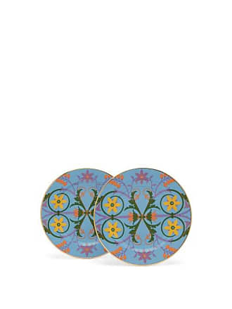 La DoubleJ Stella Alpina-print Porcelain Dessert Plates Set - Womens - Light Blue