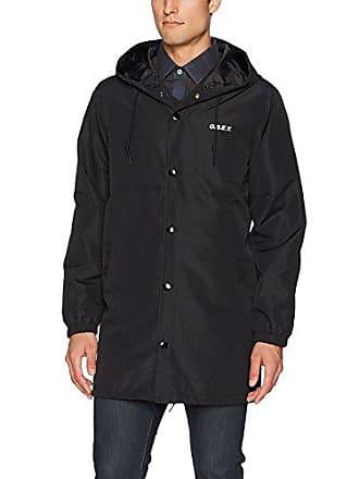 Obey Mens Hester Long Stadium Jacket, Black, M