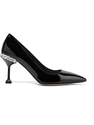 5786ba2cf97 Miu Miu Crystal-embellished Patent-leather Pumps - Black