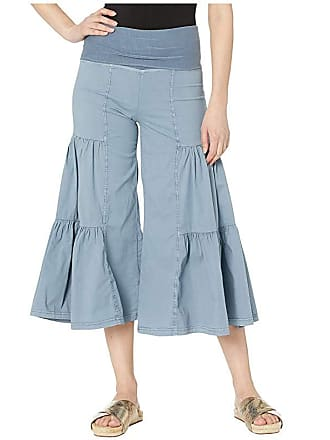 Xcvi Cropped Side Tier Palazzo (Spry Blue Pigment) Womens Casual Pants