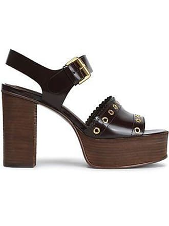 6ca670e20cf0 See By Chloé See By Chloé Woman Nora Eyelet-embellished Glossed-leather Platform  Sandals