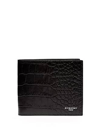 Givenchy Crocodile Effect Bi Fold Leather Wallet - Mens - Black
