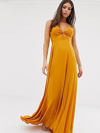 Asos Tall cami maxi dress with knot front bodice - Gold