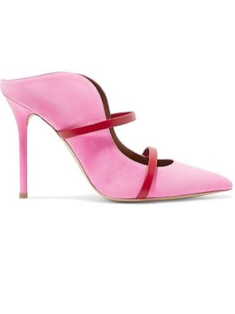 Malone Souliers Maureen 100 Leather-trimmed Suede Mules - Baby pink