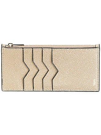 Valextra zip detail card case - Brown