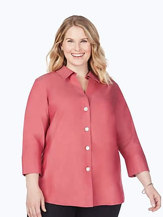 Foxcroft Womens Petite Size 3//4 Sleeve Taylor in Optic Dot Non Iron Shirt