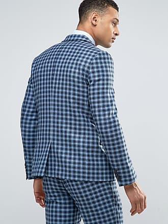 1345e66230 Asos ASOS Slim Suit Jacket In 100% Wool Blue Check - Blue