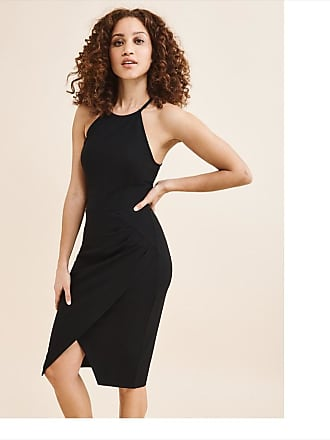 Dynamite Midi Halter Dress Jet Black