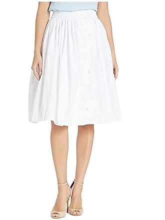 Unique Vintage Gingham Scalloped Button Romero Swing Skirt (White) Womens Skirt
