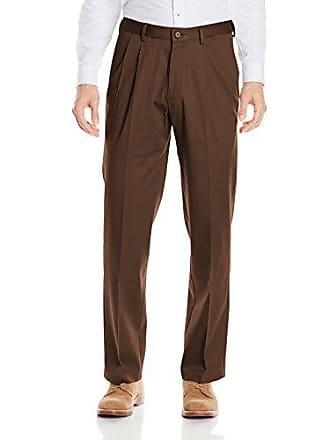 Haggar Mens Premium No Iron Classic Fit Expandable Waist Pleat Front Pant, Chocolate, 36x29