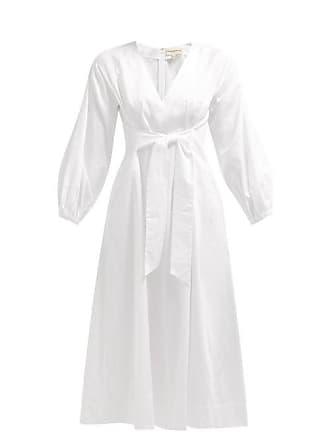 Mara Hoffman Vivica Tie Front Cotton Midi Dress - Womens - White