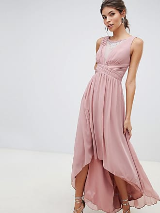 d690f99534e Little Mistress empire detail dipped hem maxi dress with sheer embellished  neckline