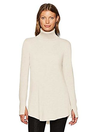 Halston Heritage Womens Long Sleeve Cowl Back Tunic Sweater, Cream, M