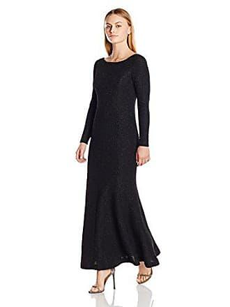 2306917d8424 Eliza J Womens Petite Long Sleeve Glitter Gown (Regular & Petite)), Black