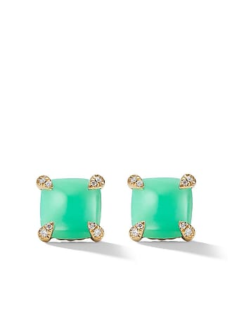 David Yurman 18kt yellow gold Châtelaine chrysoprase and diamond stud earrings - 88Dchdi
