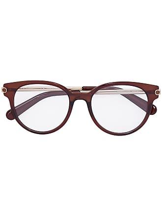 Salvatore Ferragamo Armação de óculos redonda - Marrom
