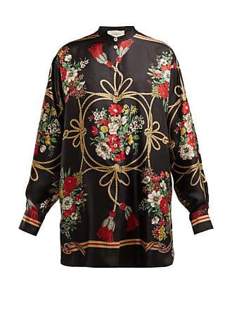 9cf58ef6b Gucci Floral And Tassel Print Silk Twill Blouse - Womens - Black Print