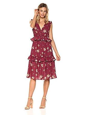 Ella Moon Womens Milly Sleeveless Multi Ruffle A-line Midi Dress, Burgundy Tossed Floral, Small
