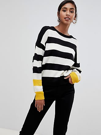 Brave Soul bolt stripe sweater with contrast cuffs - Yellow