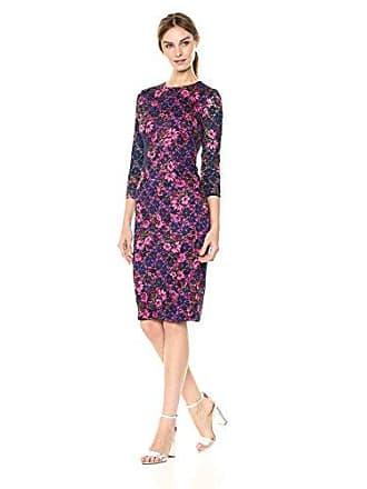 Kensie Dress Womens MIDI Floral LACE Dress, Navy Multi 2
