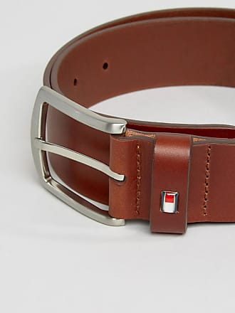 e3e596b5d1516c Tommy Hilfiger Denton flag logo leather belt in tan - Tan