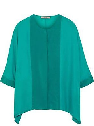 Etro Etro Woman Two-tone Silk Crepe De Chine Top Teal Size 46