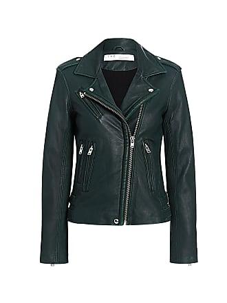 Iro Lamb Leather New Han Biker Jacket Dark Green