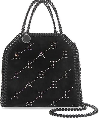 91642a46e7f2 Stella McCartney The Falabella Tiny Crystal-embellished Velvet Shoulder Bag  - Black