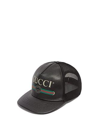 ef0162c52397 Gucci Leather Logo Trucker Cap - Mens - Black