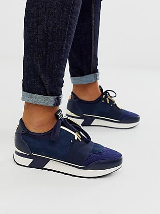 River Island trainers with gold trim in navy