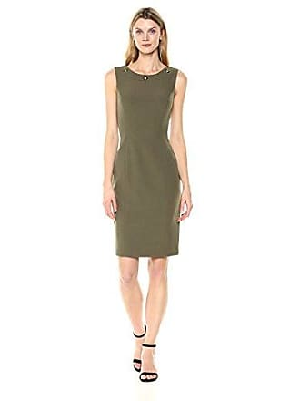 Kasper Womens Solid Stretch Crepe Sheath Dress with Detailing On Neckline, Olive, 6