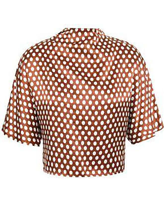 Diane Von Fürstenberg Diane Von Furstenberg Woman Cropped Bow-detailed Polka-dot Silk-satin Blouse Bronze Size XS