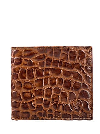 Maxwell Scott Maxwell Scott - Luxury Brown Italian Leather Bifold Wallet in Crocodile Print