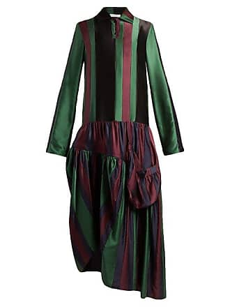 J.W.Anderson Jw Anderson - Striped Asymmetric Panel Silk Dress - Womens - Black Multi