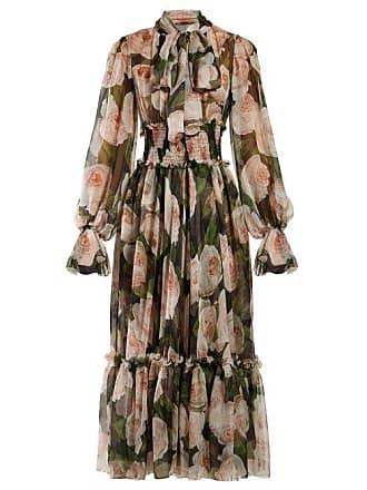 b17b7fa898c5 Dolce & Gabbana Floral Print Tie Neck Silk Chiffon Dress - Womens - Black  Pink