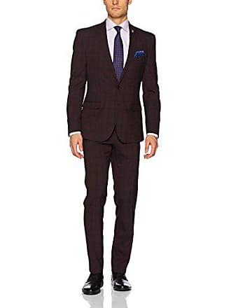 Nick Graham Mens Slim Fit Stretch Finished Bottom Suit, Burgundy/Black, 44 Regular