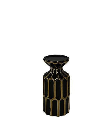 Sagebrook Home 13215-09 Ceramic Candle Holder, 4 x 4 x 7.75, Black/Gold