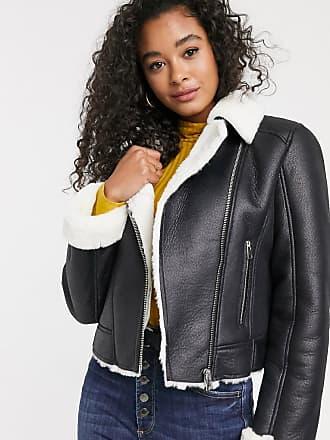 Miss Selfridge contrast faux fur aviator coat in black