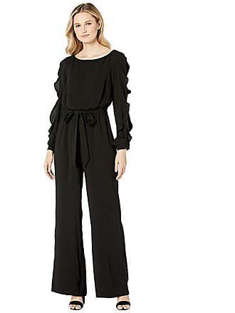 435a5c49d3d Adrianna Papell Fancy Crepe Ruffled Jumpsuit (Black) Womens Jumpsuit    Rompers One Piece