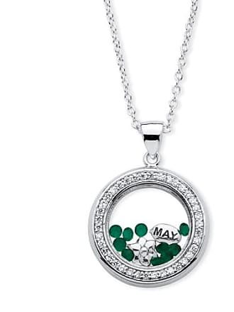 PalmBeach Jewelry 46 TCW Birthstone and CZ Floating Charm Pendant MADE WITH SWAROVSKI ELEMENTS in Silvertone - May- Simulated Emerald