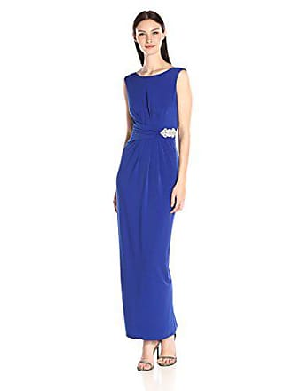 Ellen Tracy Womens Cowl Back Gown with Embellishment, Cobalt, 4