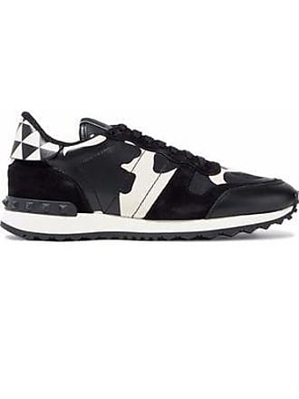 Valentino Valentino Garavani Woman Rockstud Suede, Canvas And Printed Leather Sneakers Black Size 35