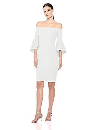 Calvin Klein Womens Off The Shoulder Solid Bell Sleeve Sheath Dress, Cream, 6